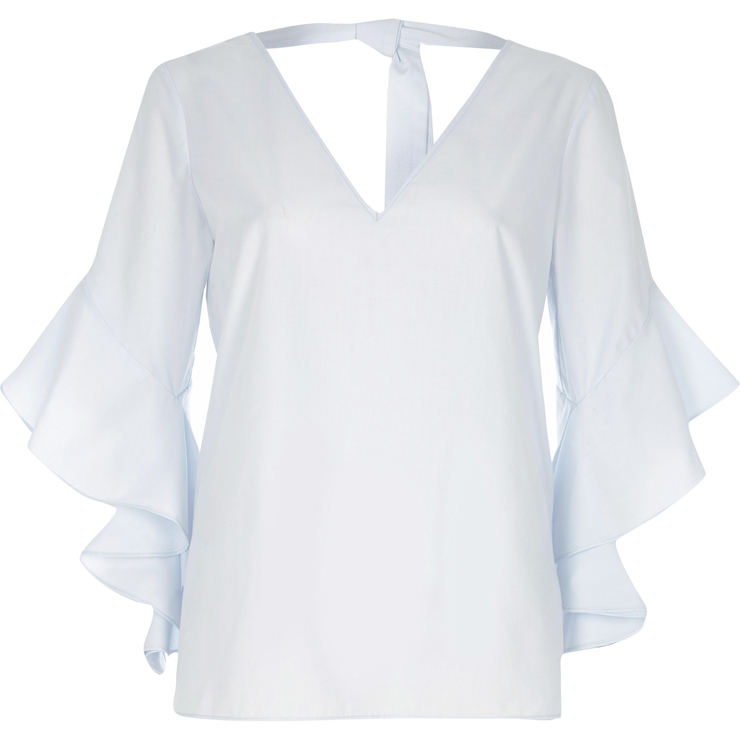 Light blue ruggle sleeve tie back V neck top €37