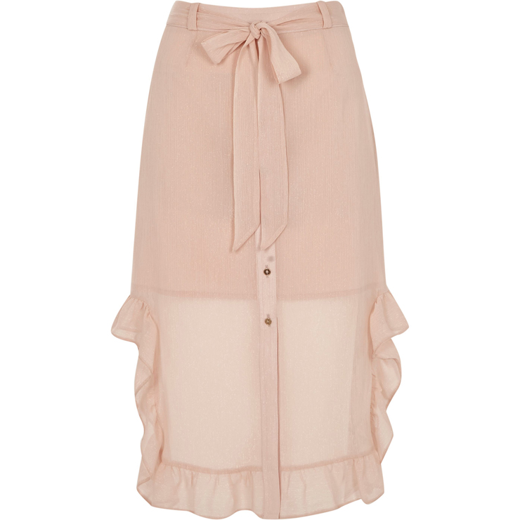 Light pink chiffon frill hem button up skirt €45