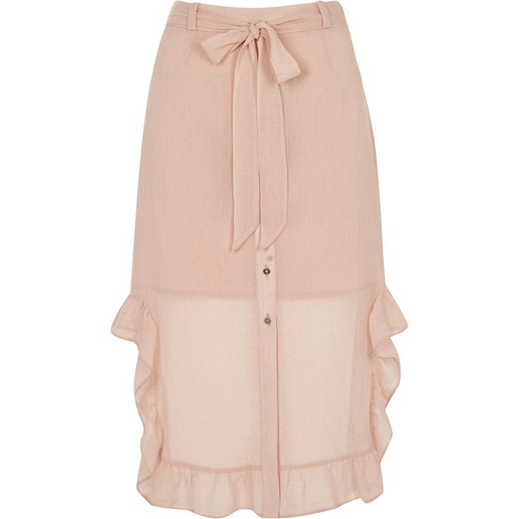 Light pink chiffon frill hem button up skirt €45